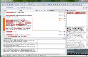 Przykład działania funkcji Regex tagger - teksty w nawiasach klamrowych i znaczniki końca wiersza zostały zamienione na znaczniki.